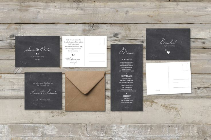 papeterie set - plain & reduced to the essentials chalkboard style - from made with love (hochzeitspapeterie).