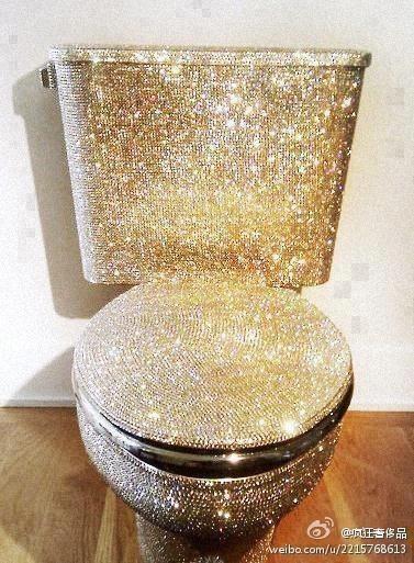 Uma escolha um tanto quanto peculiar, uma #privada de #ouro cravejada com #brilhantes. Você teria coragem de usá-la?