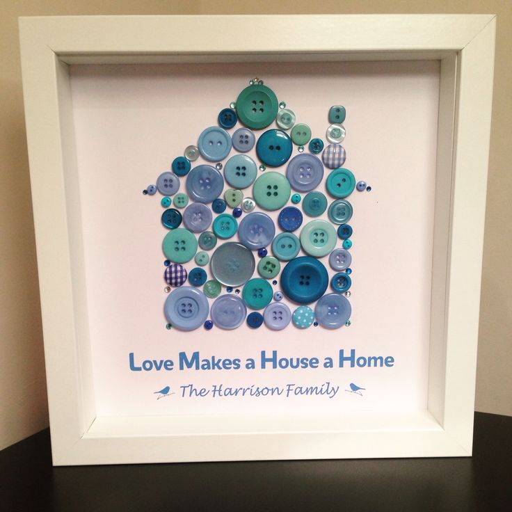 Home Button Art Picture. White Box Frame 23cm x 23cm. Love Makes a House a Home. Housewarming Gift. Personalised Wall Art. https://instagram.com/p/77oxrdtUus/