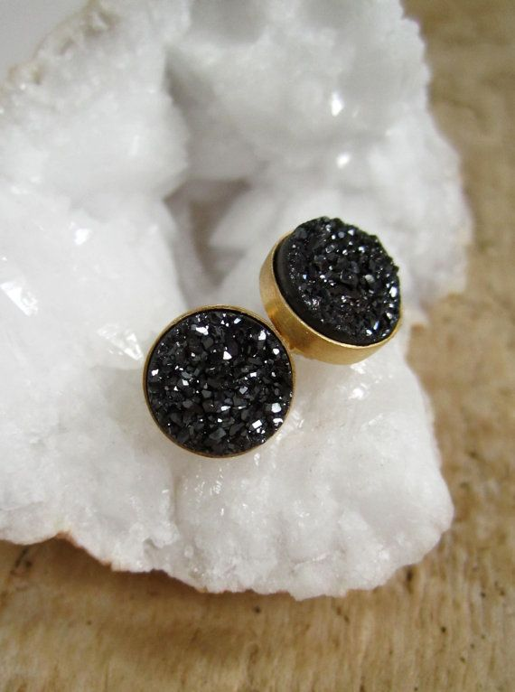 Black Druzy Earrings Titanium Druzy Studs Drusy Quartz Gold Vermeil Bezel Set