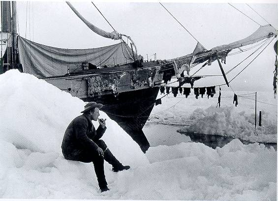 Fridtjof Nansen in front of the ship in the summer of 1894, strongly doubting that the ice drift would lead him to the Pole.