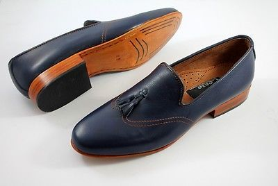 Handmade-Mens-Chelsea-Blue-Suede-Leather-Boots-LOAFER-STYLE-Mens-Leather-shoes