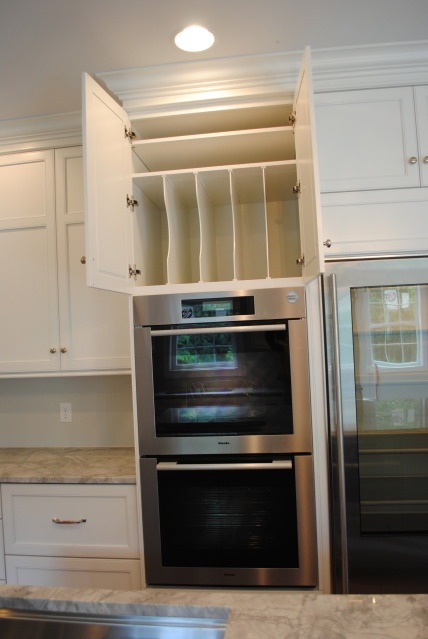 Sheet storage above oven- would do over pullout pantry