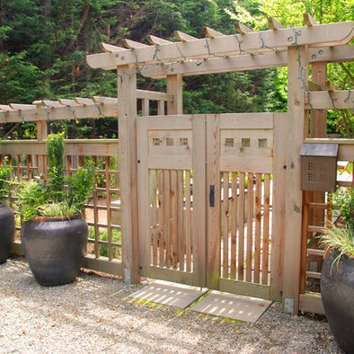 Double Garden Gates Contemporary Landscape Design By Seattle Landscape  Architect Exteriorscapes Llc This Unusual Garden Gate Has Two Doors And A  Trellis ...