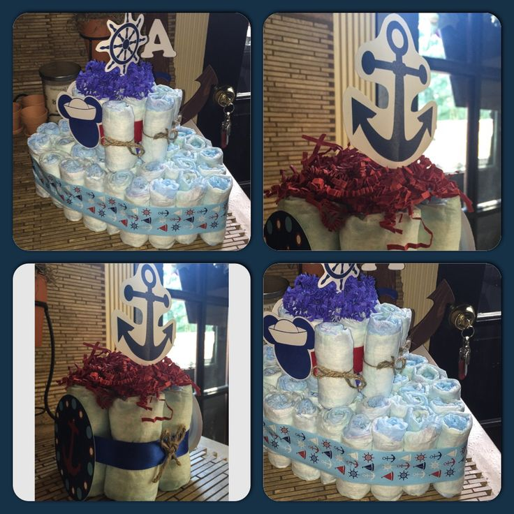Diy nautical theme baby shower diaper cakes ship boat for How to create a baby boy