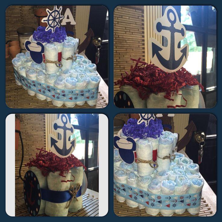 How To Make Baby Shower Diaper Cake: DIY Nautical Theme Baby Shower, Diaper Cakes, Ship/Boat