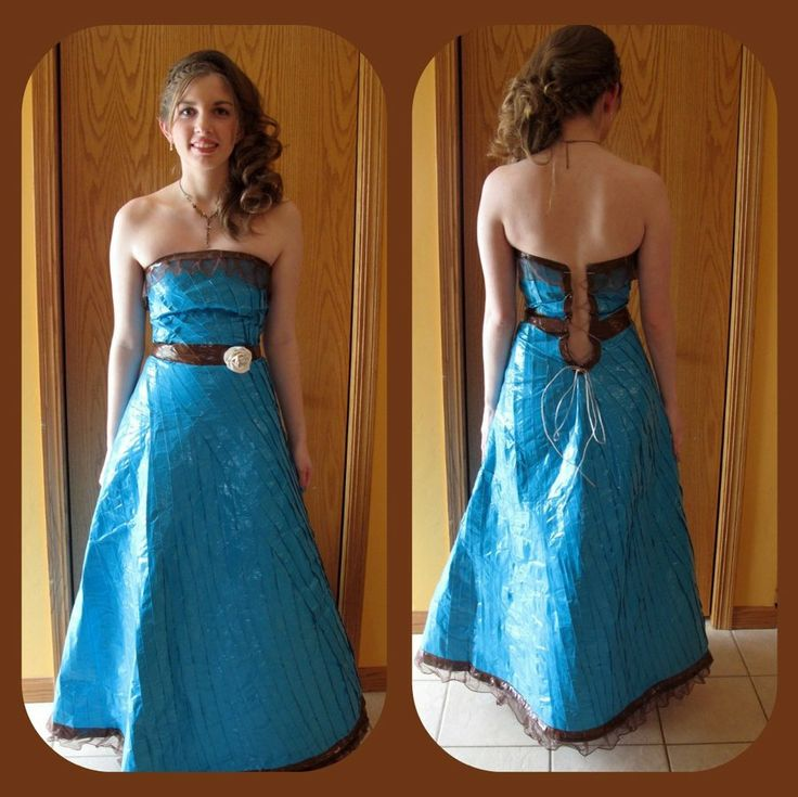 How To Make Duct Tape Dress! What teenager would wear this? And the jokes   when she turns up at the prom? Well, you wouldn't have to worry about the dress falling down because it would stick so hard she'd have to be peeled out of it later. Ow!  ...Carol (at least they added lace)