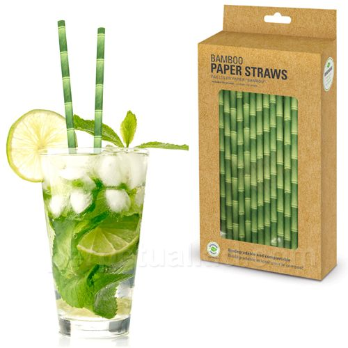 Bamboo paper straws; Perfect for summer parties