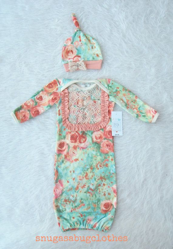 Vintage Inspired Floral Baby Girl Gown with Matching Winkie Hat, $44.00