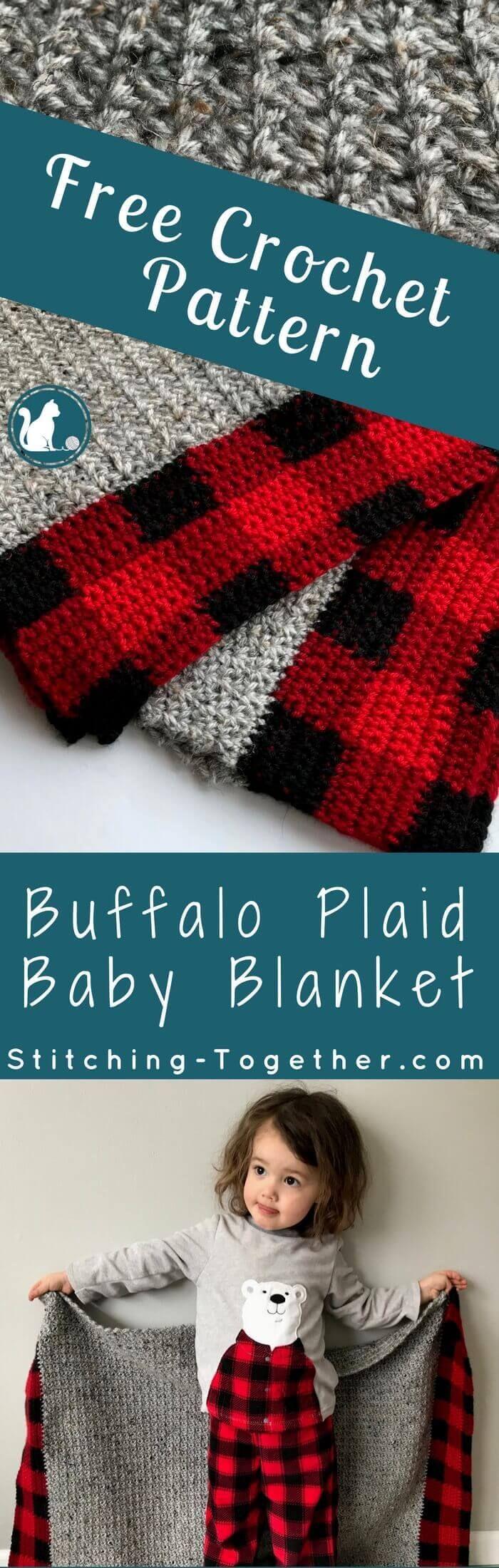Crochet Black and White Modern Farmhouse Nursery Buffalo Plaid Baby Blanket Ready to Ship Buffalo Check Baby Bedding 30 x 38 inches