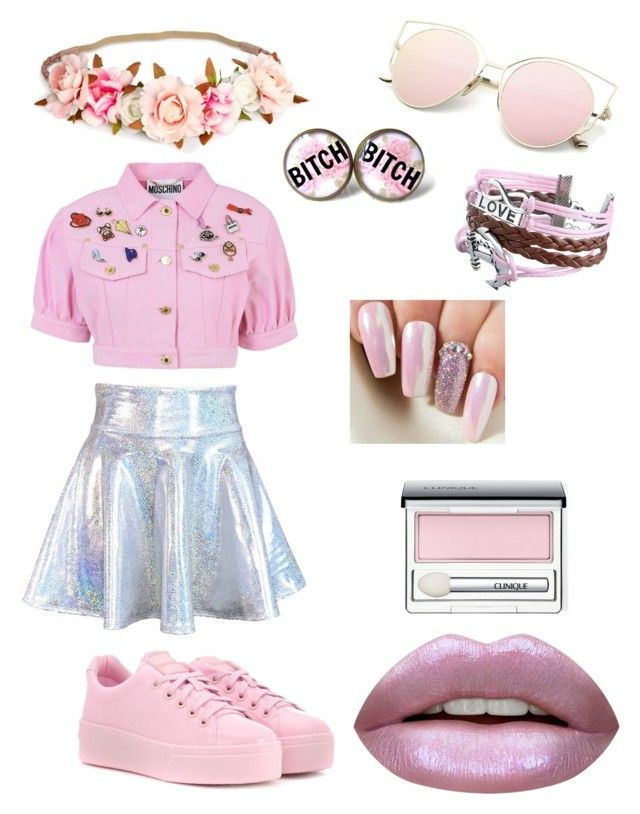 Pink by olahtory on Polyvore featuring polyvore, fashion, style, Moschino, Kenzo, Zodaca, Huda Beauty, Clinique and clothing