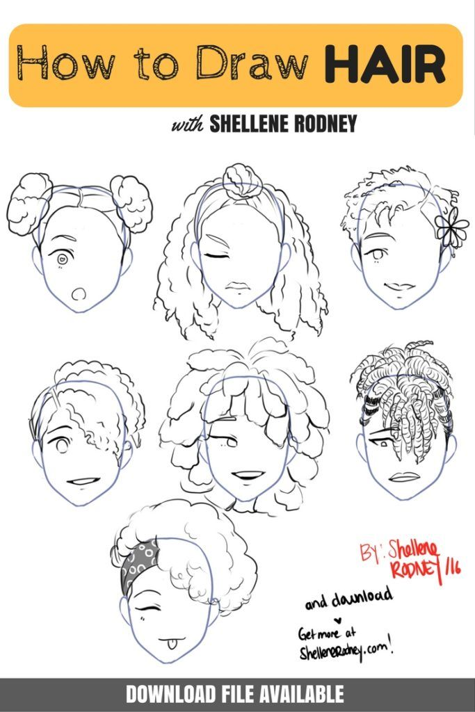 how to draw black hair with Shellene Rodney | click for downloadable's ;)