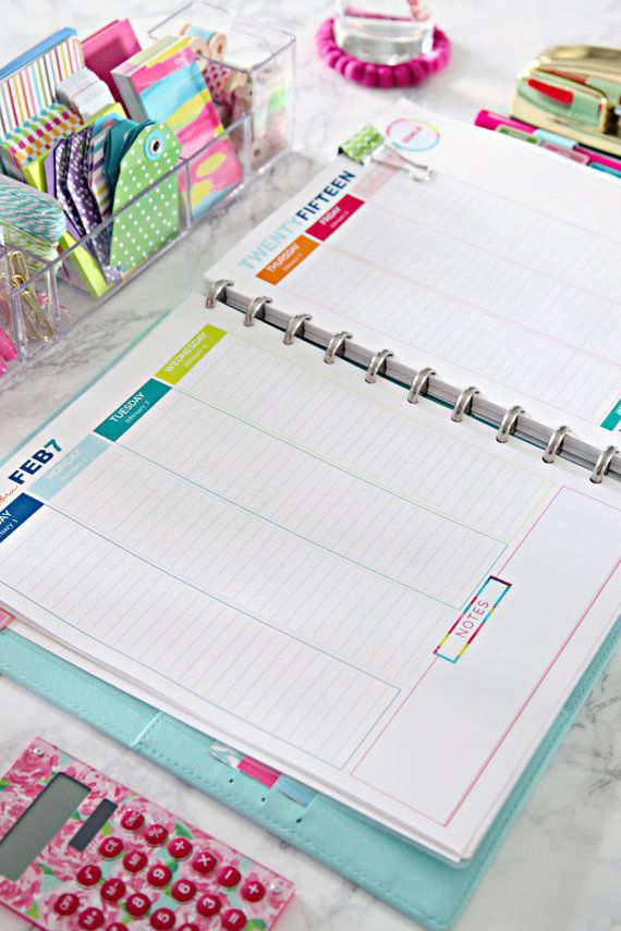 Keep your days organized with this happy and colorful August 2014 - December 2015 daily planner printable, which you can instantly download and
