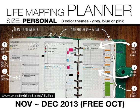 PERSONAL - Nov to Dec 2013 (Free Oct) - Life Mapping Planner - Inserts Refills Filofax Binder Collins