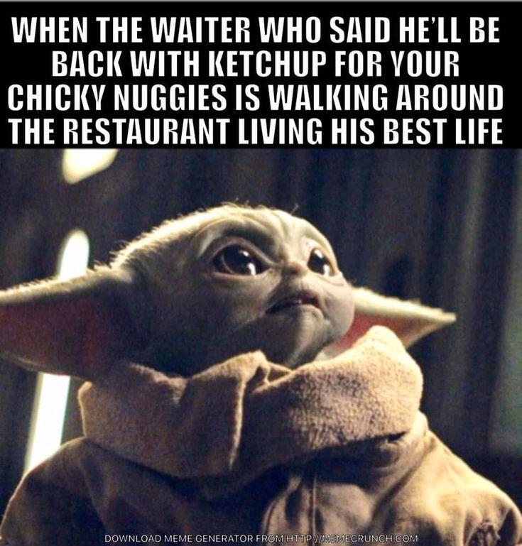 Baby Yoda, waiting for ketchup in 2020 | Yoda, Funny ...