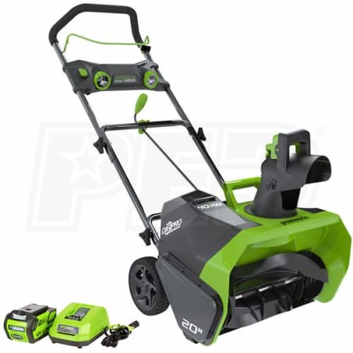"Buy GreenWorks 26272 Direct. Free Shipping. Tax-Free. Check the Greenworks DigiPro (20"") 40-Volt G-MAX Lithium-Ion Cordless Electric Snow Blower ratings before checking out."