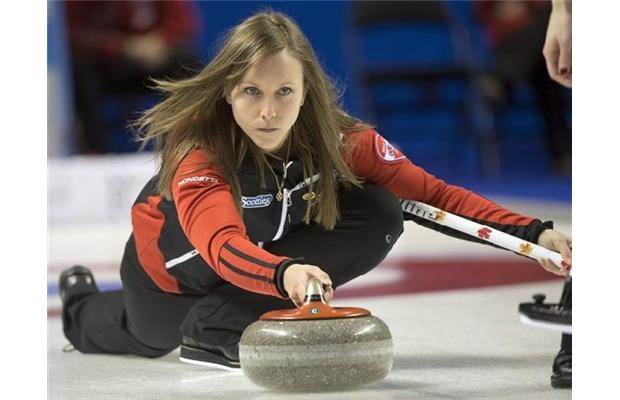 Team Ontario skip Rachel Homan takes a shot during sixth draw curling action against British Columbia at the Scotties Tournament of Hearts Monday, February 18, 2013 in Kingston, Ont.