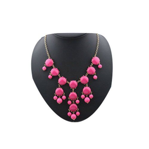 Darkey Wang Bubble Female Fashion New Necklace Resin Necklace(Rose red)
