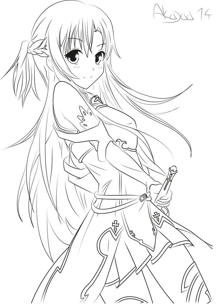 Asuna Yuuki Sword Art Online LineArt By Akayaa