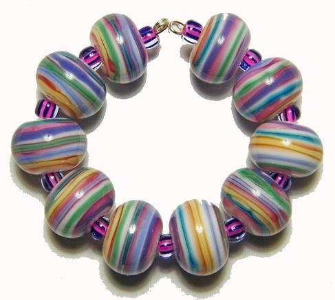 amr candy store stripes rounds lampwork beads sra ebay