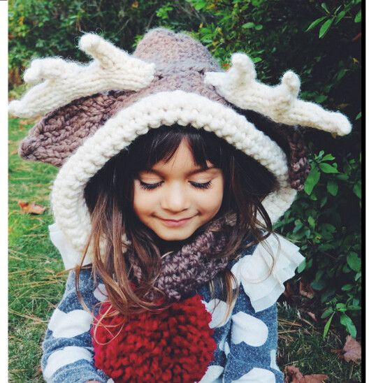 Christmas reindeer hat for kids knitting winter hat with antlers