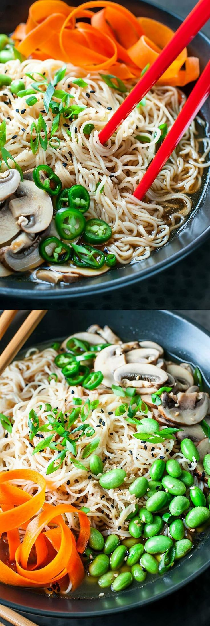 These healthy, hearty Vegan Ramen Bowls with Edamame and Mushrooms have an ultra quick trick for a super flavorful broth that tastes slow simmered in a fraction of the time!