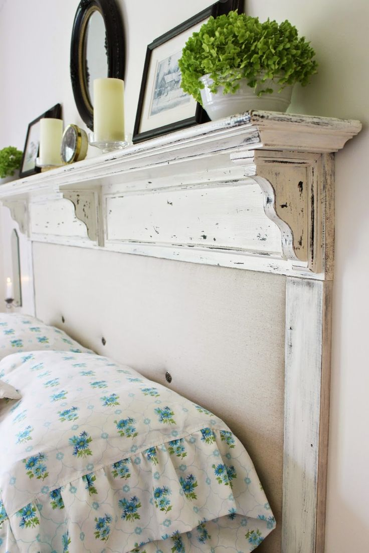 best  cloth headboard ideas on pinterest  mantel headboard  - converting the shelf to a headboard httprobinhappyathomeblogspot