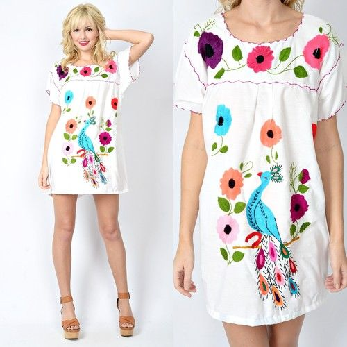 Vtg 70s White Colorful Peacock Mini Dress Floral Embroidery Mexican Ethnic | eBay