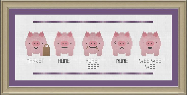 This little piggy funny pig crossstitch by nerdylittlestitcher, $3.00