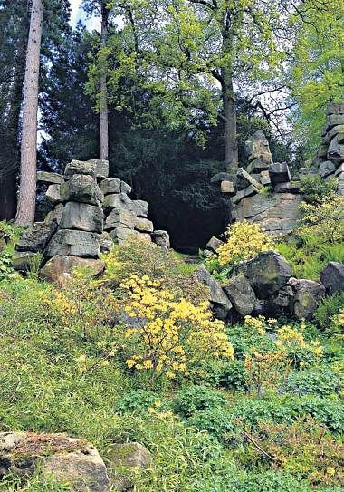 Chelsea 2015: Dan Pearson is back and looking to a Paxton inspired past at Chatworth House for the Laurent-Perrier Garden. Pearson has been influenced by rocky landscape of the Trout Stream with yellow azaleas - Telegraph