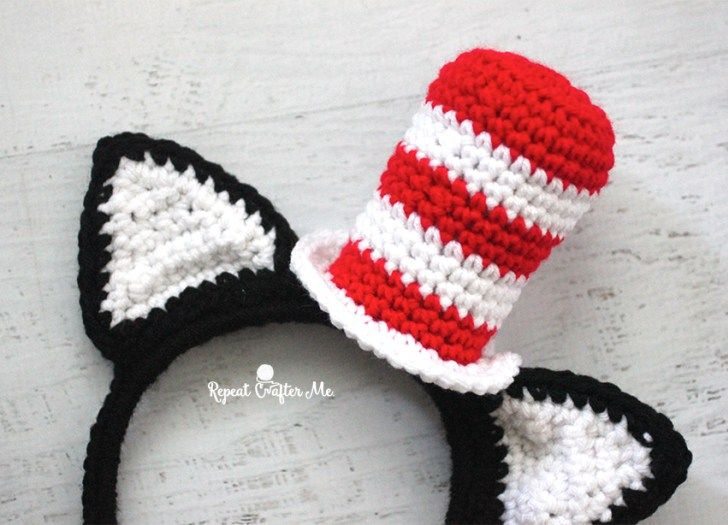 Crochet Cat in the Hat Headband | Repeat Crafter Me | Bloglovin'