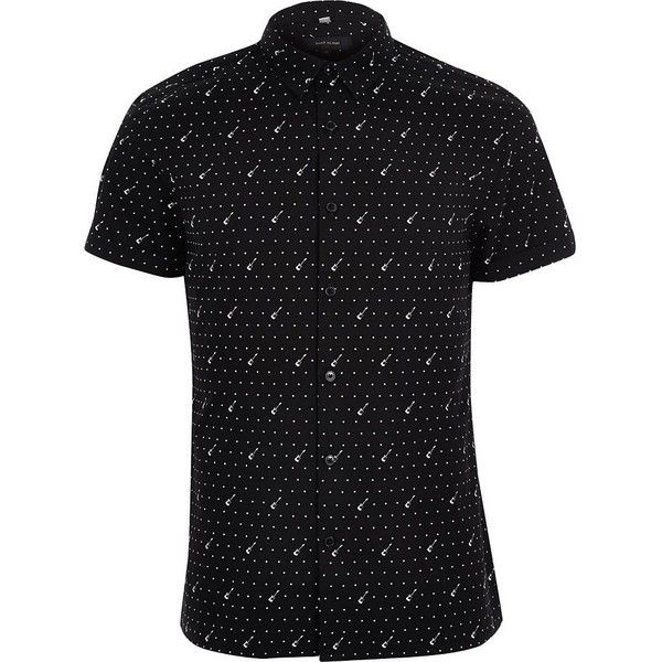 River Island Black guitar print casual short sleeve shirt ($31) ❤ liked on Polyvore featuring men's fashion, men's clothing, men's shirts, men's casual shirts, shirts, men's short sleeve button up shirts, mens tall shirts, mens casual button down shirts, mens short sleeve shirts and mens patterned shirts