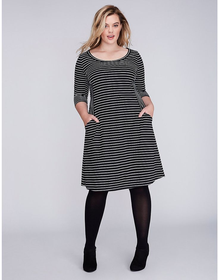 Striped Double Knit Fit & Flare Dress | Lane Bryant