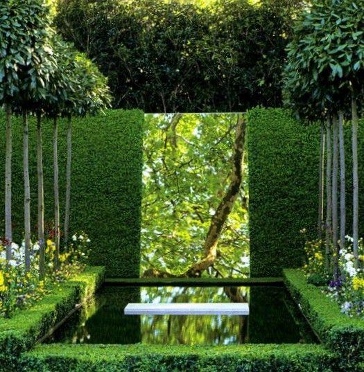 small garden idea - pool reflects in mirror