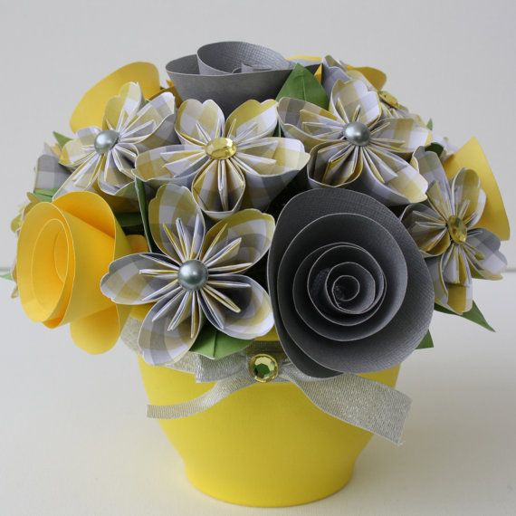 Potted Paper Flower Bouquet - Sunshine on a Cloudy Day
