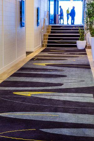 Cronulla RSL, Sydney. Custom design Axminster carpet. Abstract surfboards.
