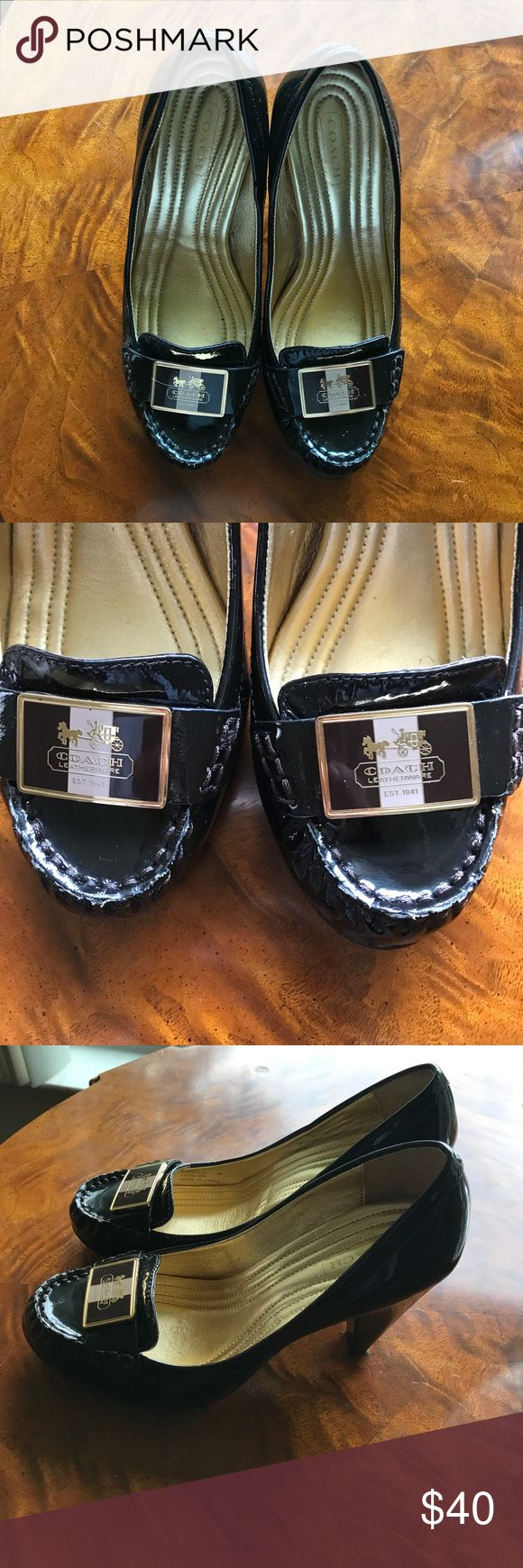 Coach high heel loafers brown patent leather Sz 6 Worn twice near perfect condition. ❌Final Price❌ Coach Shoes Heels