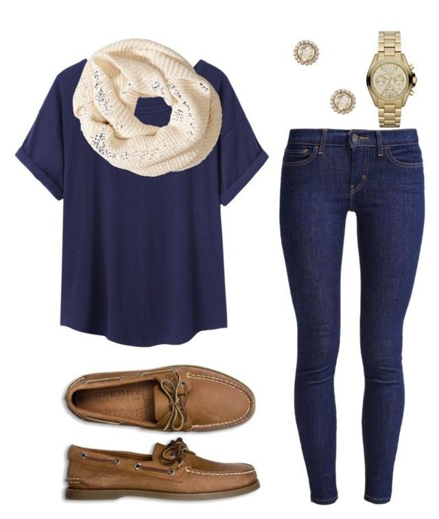 """CASUAL FOR FALL"" by nithefiasco ❤ liked on Polyvore featuring Levi's, Organic by John Patrick, H&M, Sperry Top-Sider, Elizabeth Cole and Michael Kors"