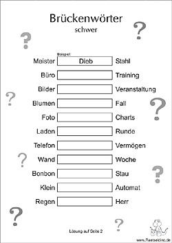Brückenwörter Rätsel schwer