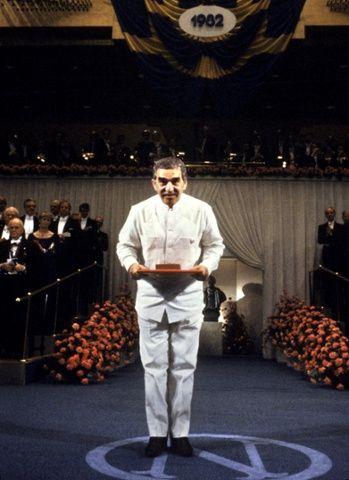Gabriel García Márquez after receiving the Nobel Prize for Literature