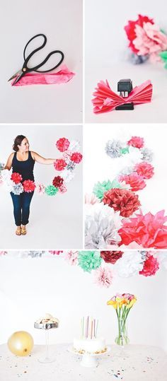 DIY Tissue Paper Flower Garland. You can create them in any color scheme to co-inside with any holiday or celebration.