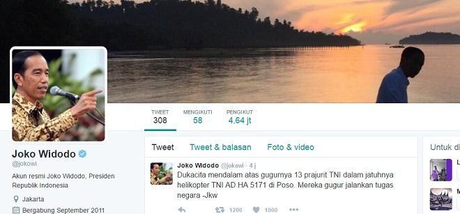 Covesia.com - Presiden Joko Widodo (Jokowi) sampaikan dukacita atas gugurnya 13 prajurit TNI dalam peristiwa jatuhnya pesawat helikopter TNI Angkatan darat...