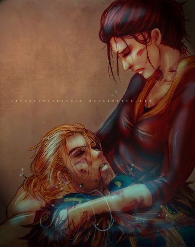 Anders and Hawke - Dragon Age 2. Why did you do it, Anders??? Killing you was one of the saddest parts of the game :'(