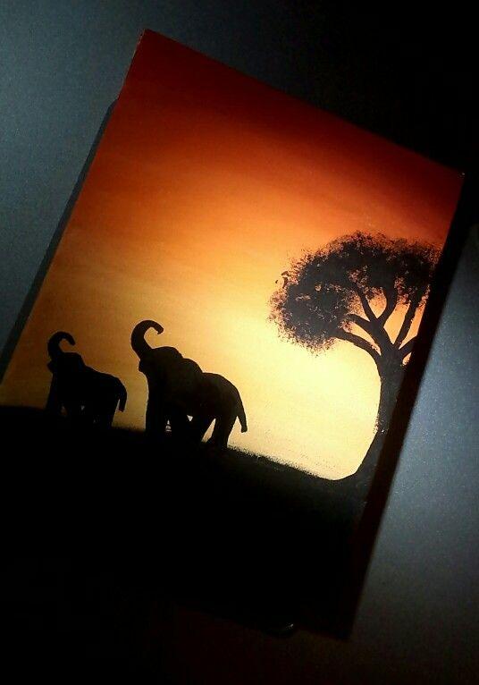 Acrylic painting on canvas  #acrylicpainting #sunset #elephants