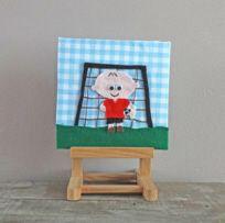 Schilderijtje van stof en vilt voor elke stoere baby of jongenskamertje.