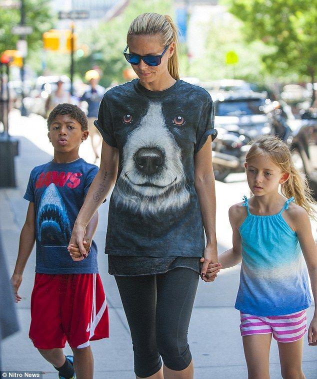 "Heidi Klum (with children Henry & Leni) wearing ""Border Collie Face"""