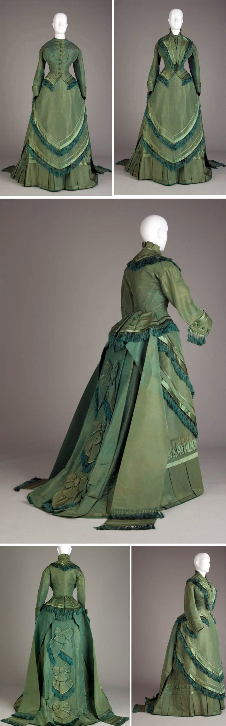 Wedding dress, 1874. Bright green silk taffeta trimmed with silk satin; 4 pieces. Fitted bodice has high neck with button-front closure, drop shoulder sleeves, and upturned cuffs at wrist. Attached peplum is open in front and is edged with dark green silk tasseled fringe. Removable collar has silk satin-trimmed lapels & fringe edging. Skirt with train. Pleated, satin-trimmed ruffle at hem. Two-layered apron with back tie closure. Chicago History Museum