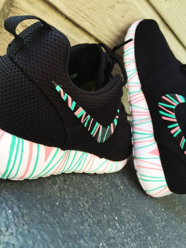 Custom Nike Roshe Run sneakers, South Beach teal/ Pink petals, Fashionable design,