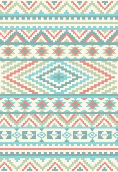 Peach blue green Aztec n tribal print