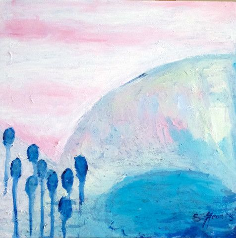 Original Painting Blue Lake by Saffron Craig Fabrics | Saffron Craig Organic Fabrics